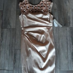 Dresses & Skirts - Flawless nwt satin gown embellished with beading